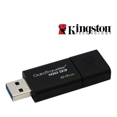 Pen USB 3.0 Kingston 64GB DataTraveler 100 G3 Preta