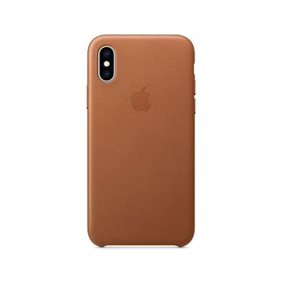 Leather Cover Original Apple iPhone XS Brown