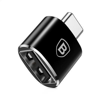 Adaptador Baseus USB a USB Tipo-C Negro