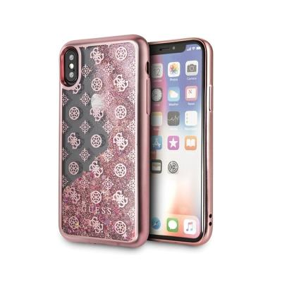 Glitter Silicone Cover Guess iPhone X/XS Pink