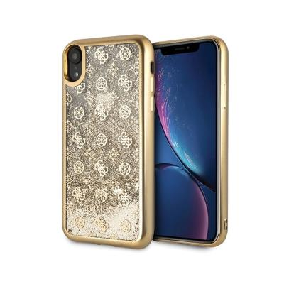 Glitter Silicone Cover Guess Liquid iPhone XR Gold