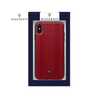 Leather Cover Maserati iPhone XS Max Red