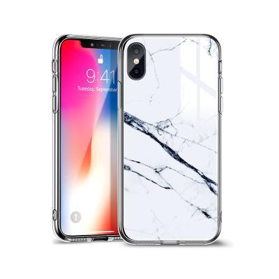 Funda Protección Glass iPhone XS Max Marble Blanca