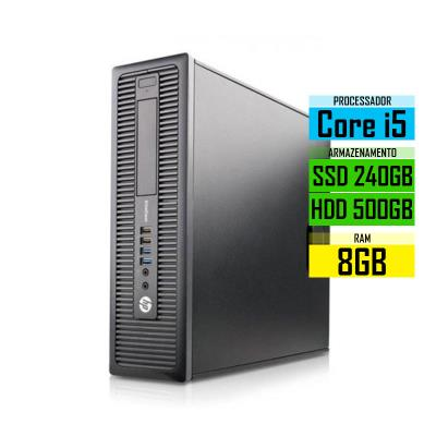 Computador Torre HP EliteDesk 800 SFF G1 i5-4570 SSD 240GB+500GB/8GB Recondicionado
