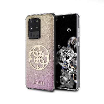 Capa Silicone Guess Samsung Galaxy S20 Ultra G988 Glitter Circle Rosa Dourado