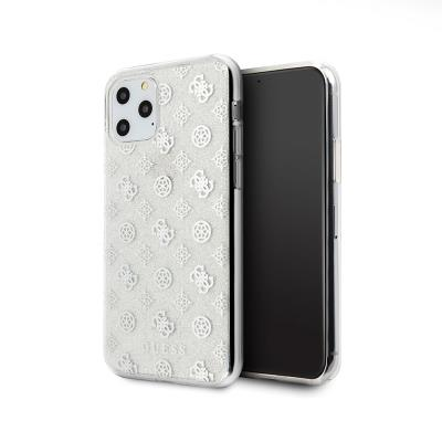 Glitter Silicone Cover Guess iPhone 11 Pro Silver