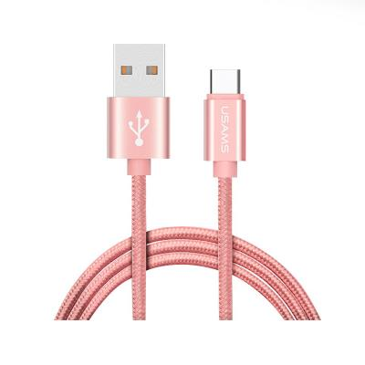 Data Cable Usams USB Tipo-C 2m U-Knit Braided Rose Gold