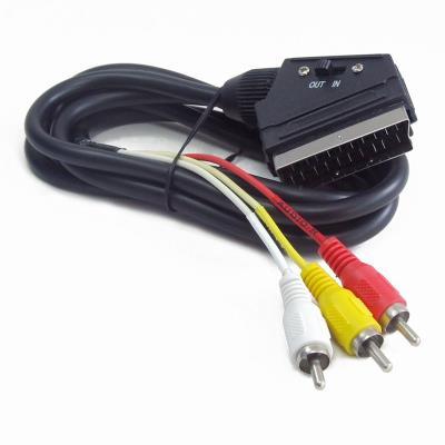 Adaptador Gembird SCART para 3 RCA Preto