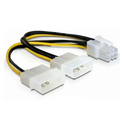 Power Cable 2x Molex to PCI-E 6Pin 15 cm