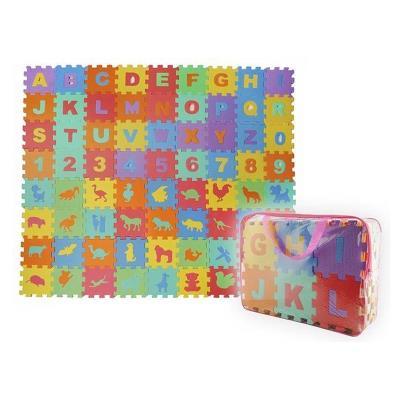 Puzzle Carpet Alphanumeric and Animals 72 pieces