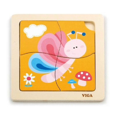Puzzle Viga Wood 4 Pieces Butterfly (50136)