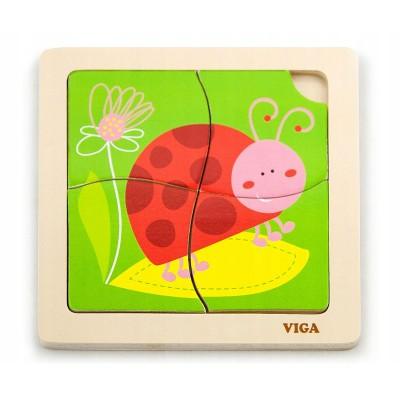 Puzzle Viga Wood 4 Pieces Ladybug (50140)