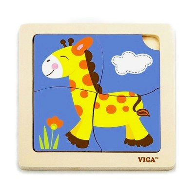 Puzzle Viga Wood 4 Pieces Giraffe (51319)