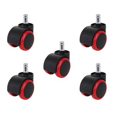 Rodas de Cadeira Conjunto de 5 Vermelha