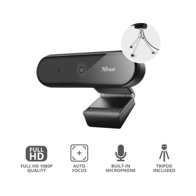 Webcam Trust Tyro FHD c/Microfone + Tripé Preta