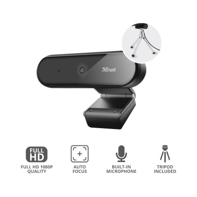 Webcam Trust Tyro FHD w/Microphone + Tripod Black