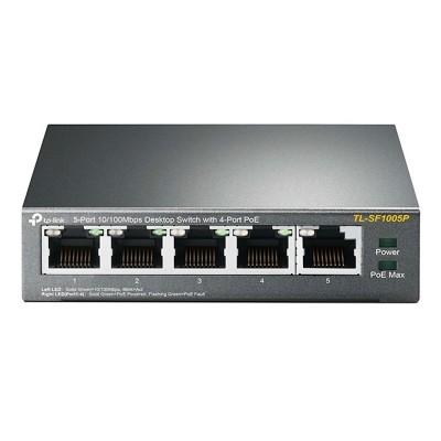 Switch TP-Link 5 Portas 10/100 Mbps PoE Preto (TL-SF1005P)