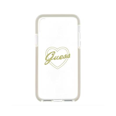 Guess Heart Silicone Case iPhone X Transparent (GUHCPSETR4GSI)