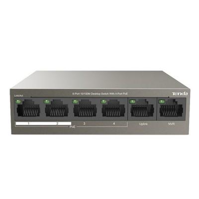 Switch Tenda 6 Portas 10/100 Mbps PoE (TEF1106P-4-63W)