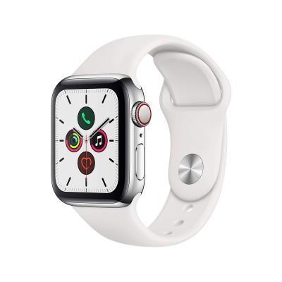 Smartwatch Apple Watch Series 5 GPS + Cellular 40mm Aço Prateado c/ Bracelete Desportiva Branca