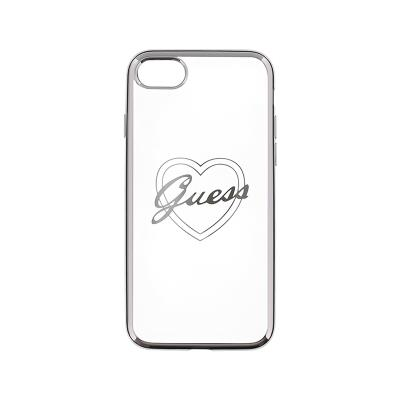 Guess Heart Silicone Case iPhone 7 Silver (GUHCP7TRHS)