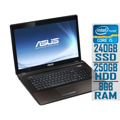"Laptop Asus X73SV 17"" i5-2430M SSD 240GB+250GB/8GB Refurbished"