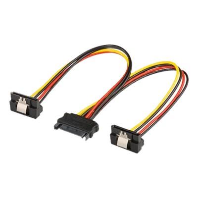 Power Cable SATA M to 2x SATA F 90º w/ clip 20cm