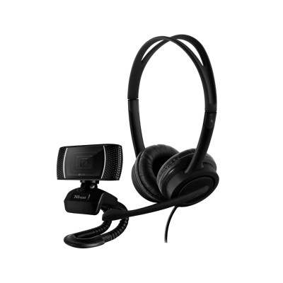 Conjunto Webcam + Headsets Trust Doba 2-em-1 Home Office Set Pretos