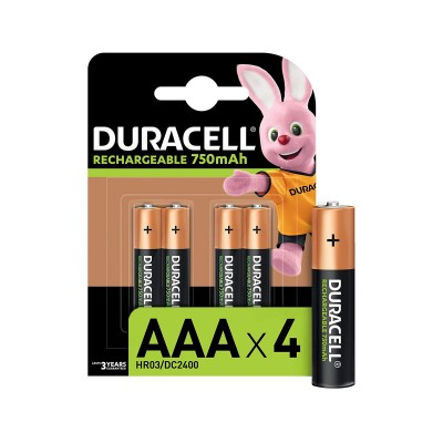 Rechargeable Batteries Duracell Stay Charged AAA Pack 4 (HR03)