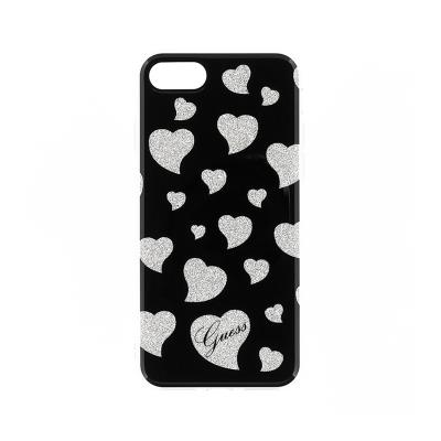 Guess Heart Silicone Case iPhone 7 Black/Silver (GUHCP7GLHBK)