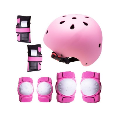 Conjunto de Proteção p/Patins, Skate, Bicicleta Tamanho M Rosa