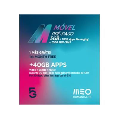 Cartão Móvel Pré-Pago MEO M 5GB