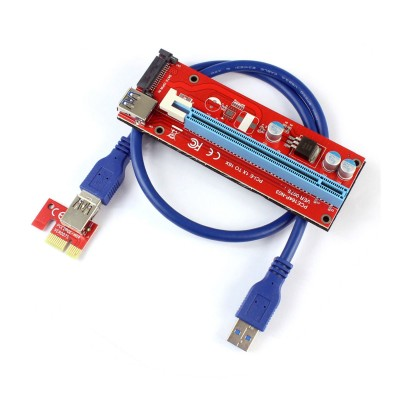 Adaptador de Tarjeta Vertical PCI-E 1x a PCI-E 16x USB 3.0 (Versión SATA)