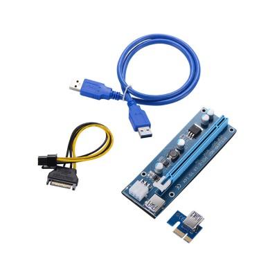 Riser Card Adapter PCI-E 1x to PCI-E 16x USB 3.1 (6-Pin Version)