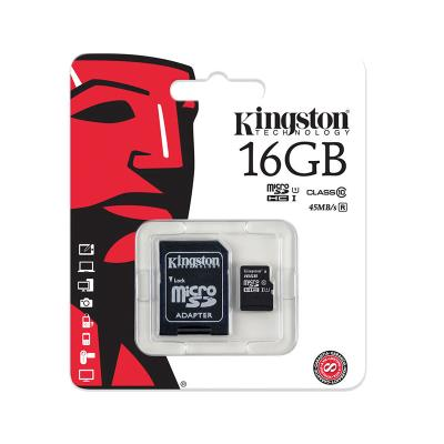 Tarjeta Memoria Kingston Micro SD 16GB Negro (CLASS 10)