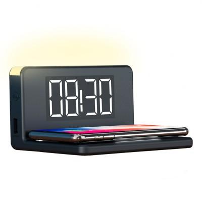 Relógio Despertador Com Carregador Wireless KSIX 10W Preto