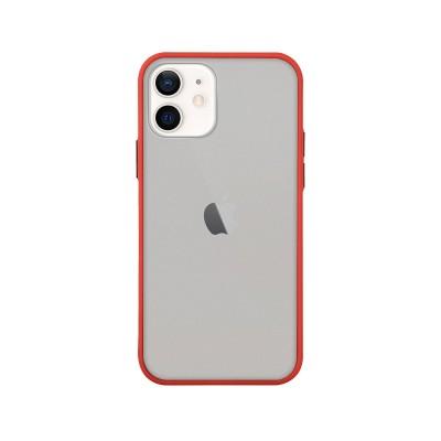 Silicone Cover iPhone 11 Matt Transparent/Red