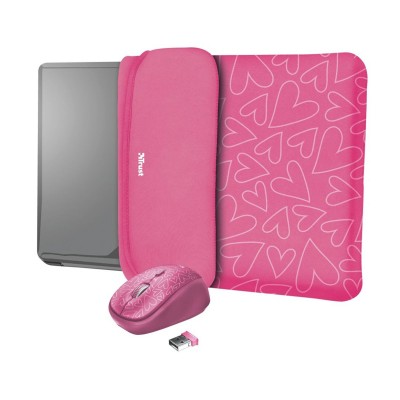 """Laptop Bag + Wireless Mouse Trust Yvo Reversible Sleeve 15.6"""" Pink (23443)"""