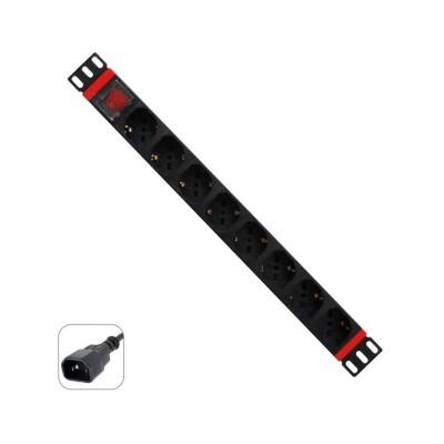 """Power Strips WP 19"""" 8 Schuko Sockets 2m w/Switch Black"""