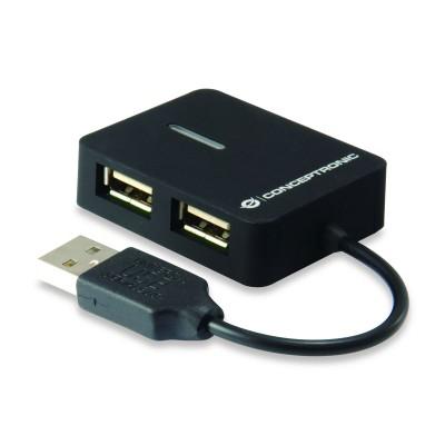 USB Hub Conceptronic 4 USB 2.0 Ports Black (C4PUSB2)