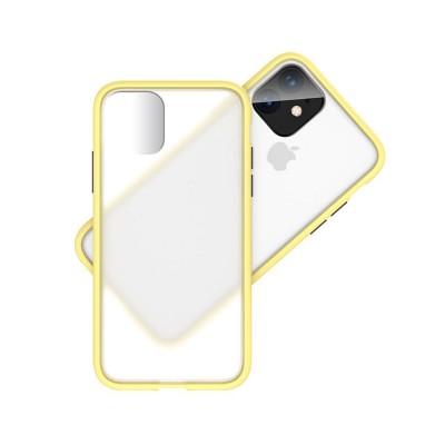 Funda Silicona iPhone 11 Transparent Fosco/Amarillo