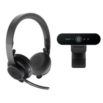 Webcam Set + Headsets Logitech Video Collaboration c/ Microfone Black