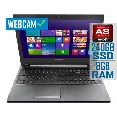 "Laptop Lenovo G50-45 15"" A8-6410M SSD 240GB/8GB Refurbished"