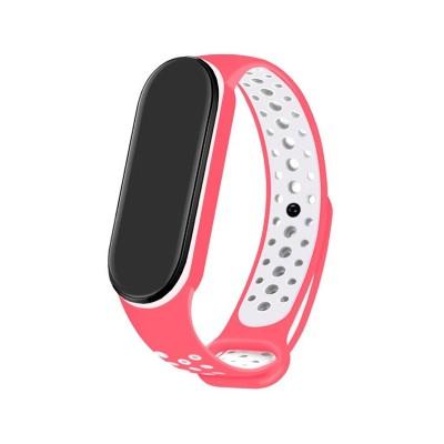 Silicone Bracelet Xiaomi Mi Band 5/6 Pink/White