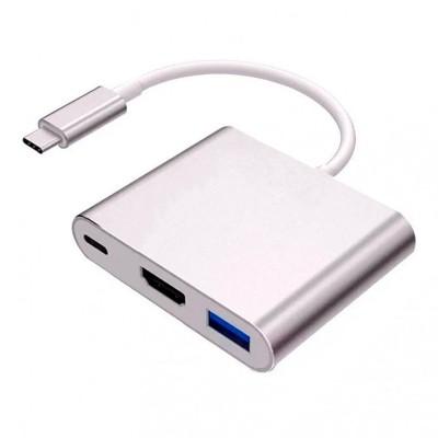 Hub USB Tipo C para HDMI/ USB/ USB-C Plateado