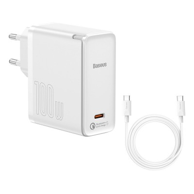 Charger Baseus GaN2 Fast Charger 1C USB Tipo-C 100W 1.5m White