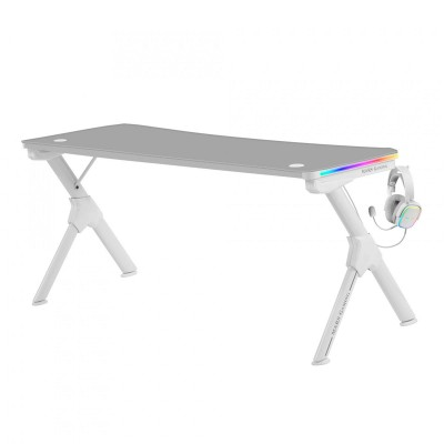Mesa Gaming Mars Gaming  RGB 160x60x75 cm Branca (MGDXLRGB)
