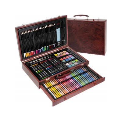Painting Bag Colored Pencils/Wax/Watercolor 143 Pieces Brown