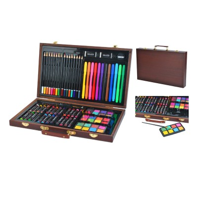 Painting Bag Colored Pencils/Wax/Watercolor 81 Pieces Brown