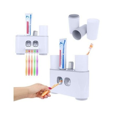 Porta Escovas de dentes c/Dispensador de Pasta Branco